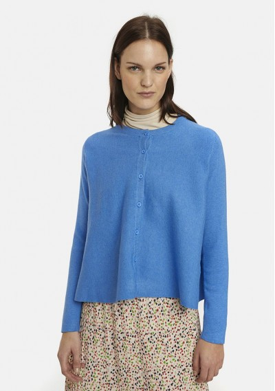 Flared blue cardigan with...