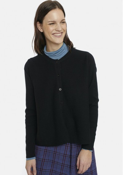 Flared black cardigan with...