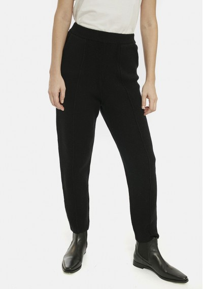 Black knit trousers with seams