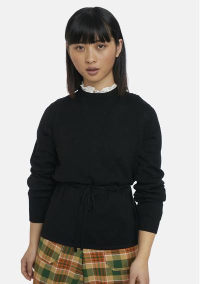 Black fine-knit jumper with...