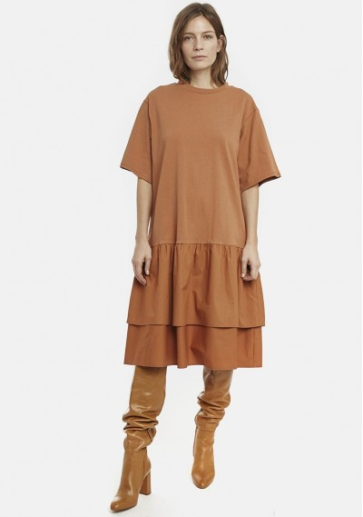 Oversized brown dress with...