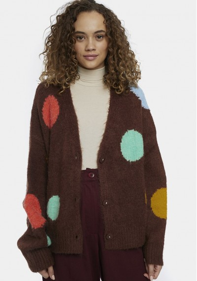 Brown cardigan with large...