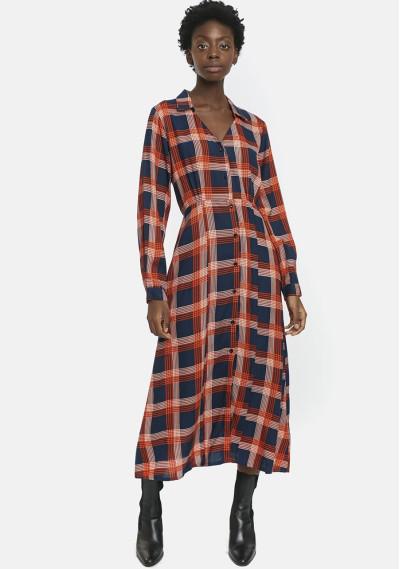 Orange check flannel midi...