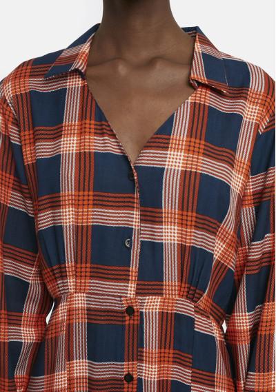 Orange check flannel midi dress -  Compañía Fantástica