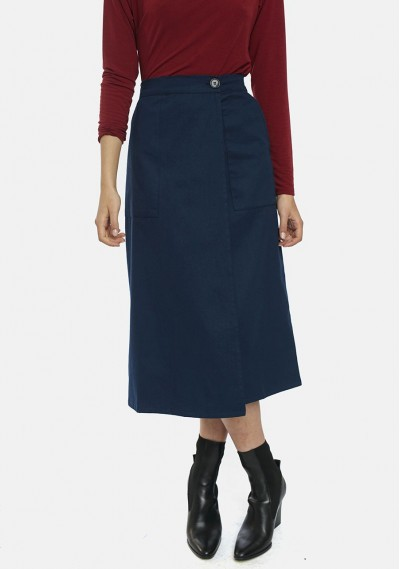 Straight-cut wrap skirt in...