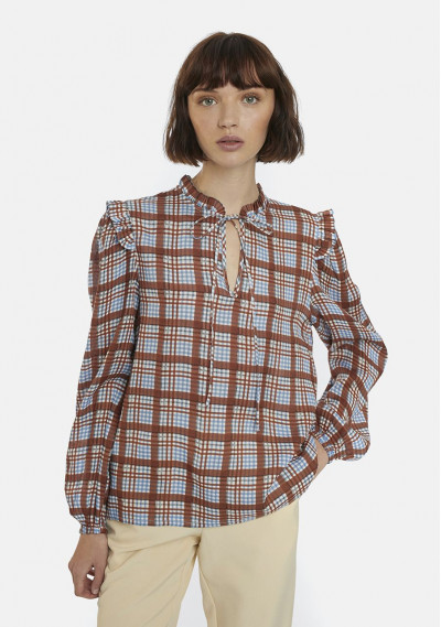 Brown tartan blouse with bow