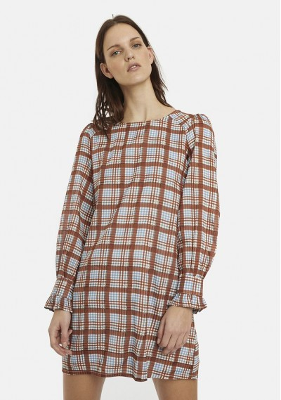 Brown tartan smock dress
