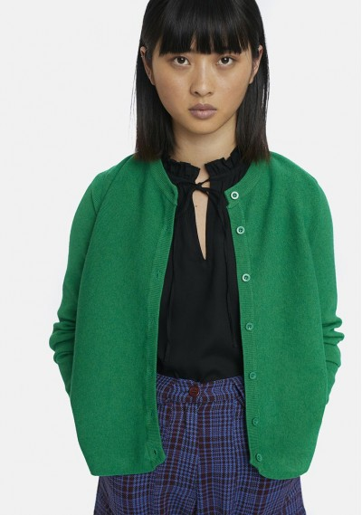 Flared green cardigan with...
