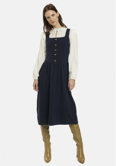 Buttoned navy knit pinafore