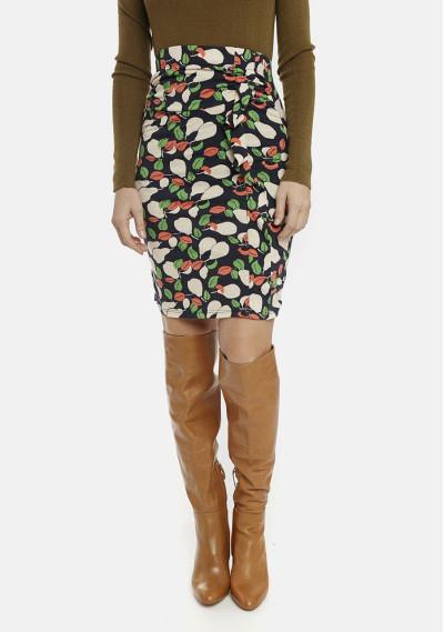 Falda ajustada estampado peras