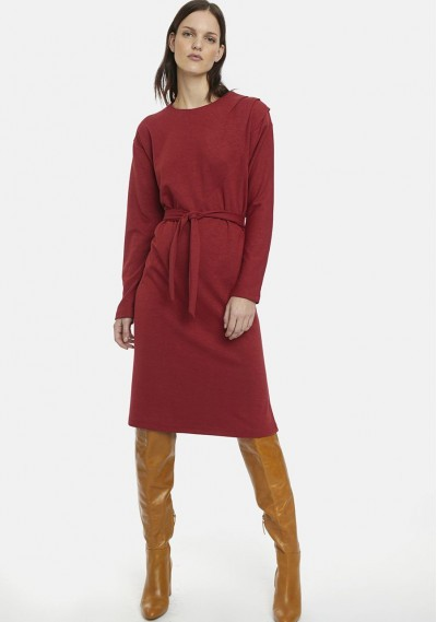 Maroon shift dress with bow...