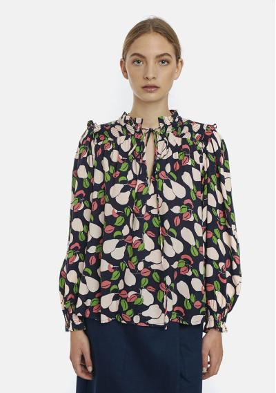Pear print ruffle blouse
