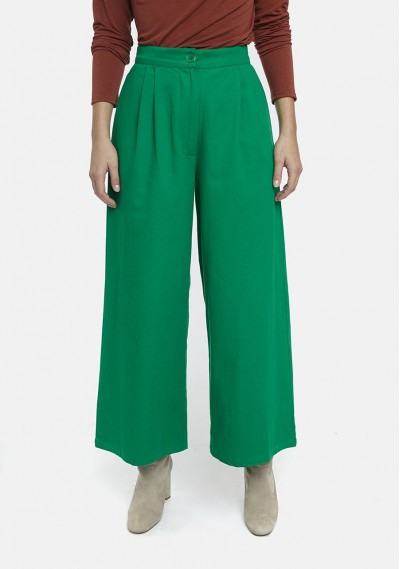 Green flared trousers with...