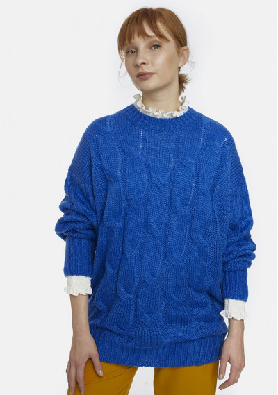 Blue oversized cable-knit...
