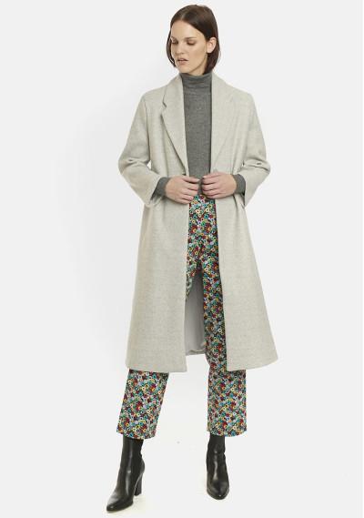 Grey long straight-cut coat...