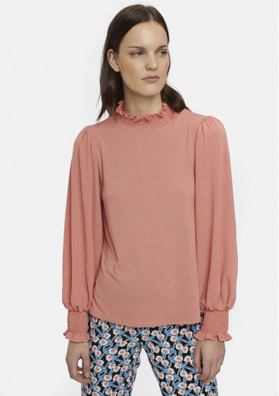 Pink smocked polo-neck top