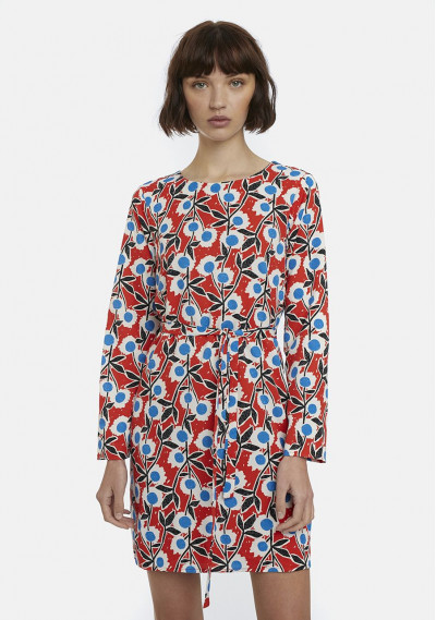 Red retro floral print...
