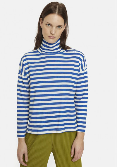 Blue and white striped polo...