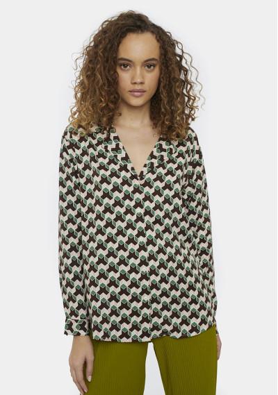 Retro geometric print shirt