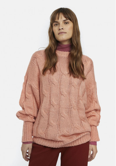 Pink oversized cable-knit...