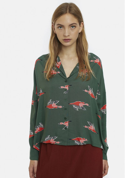 Green geese print oversized...
