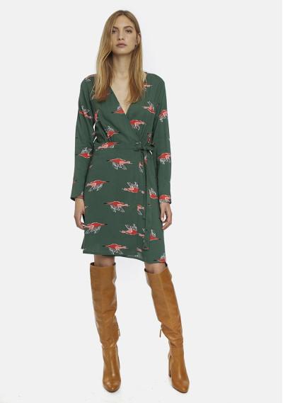Green geese print wrap dress