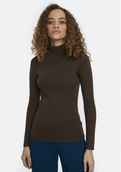 Brown fitted ribbed knit...