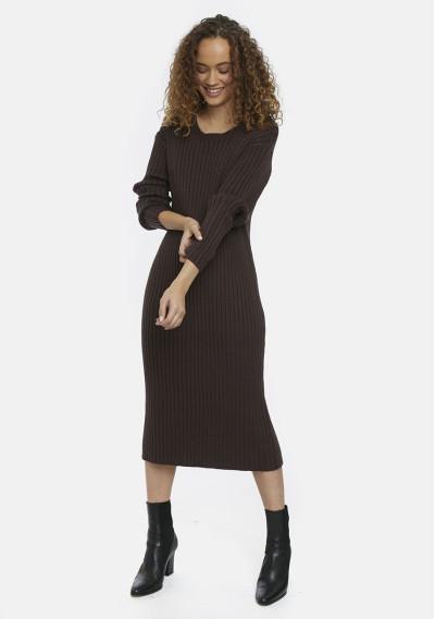 Brown ribbed knit midi dress