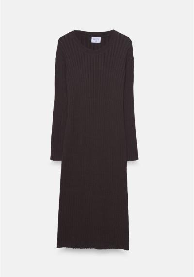 Brown ribbed knit midi dress -  Compañía Fantástica