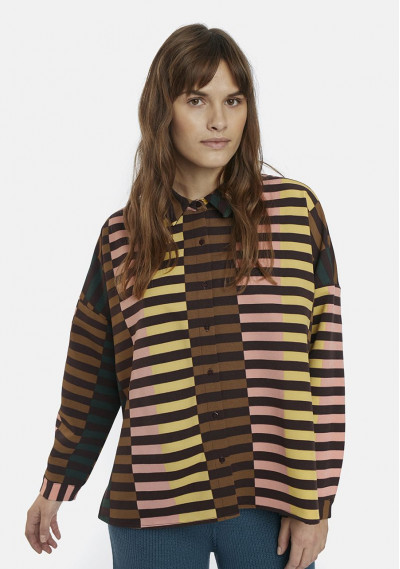 Retro striped oversized shirt