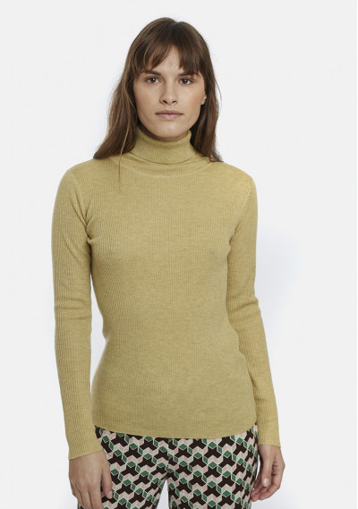Beige fitted ribbed knit jumper