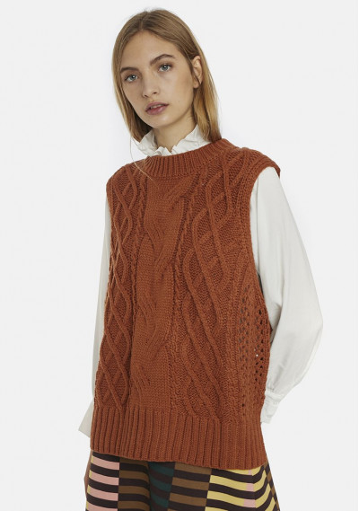 Brown oversized cable-knit...