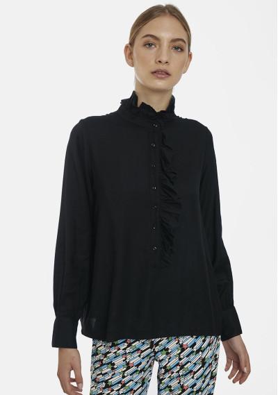 Plain black shirt with ruffles