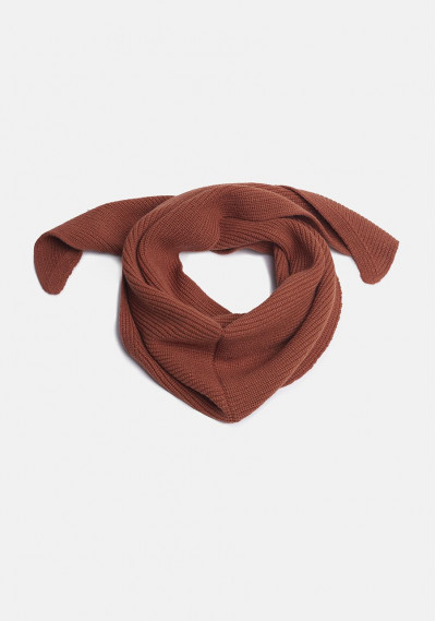Brown triangular knitted scarf