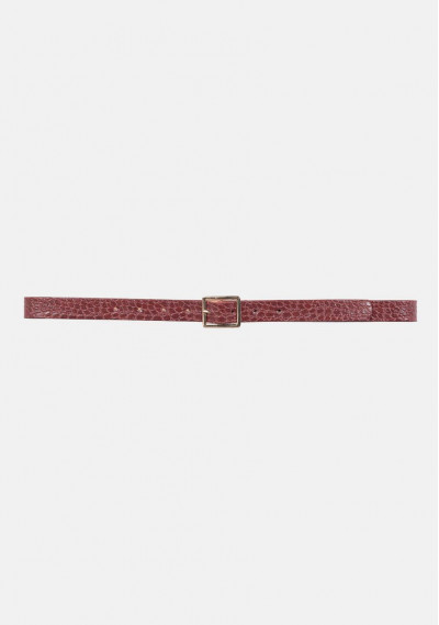 Maroon square buckle...