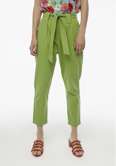 Pantalón pinzas verde cinturón