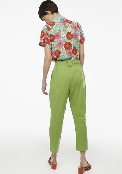 Pantalón pinzas verde cinturón -  Compañía Fantástica