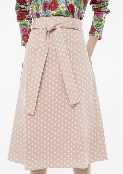 Pink polka-dot midi skirt