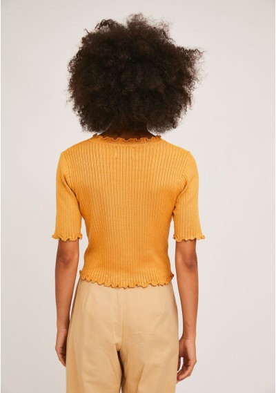 Short plain yellow knitted cardigan with crimped finish -  Compañía Fantástica