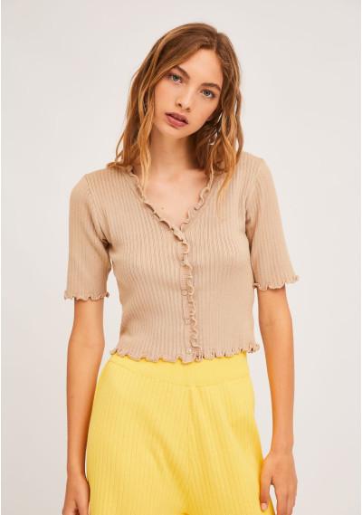 Short plain beige knitted...