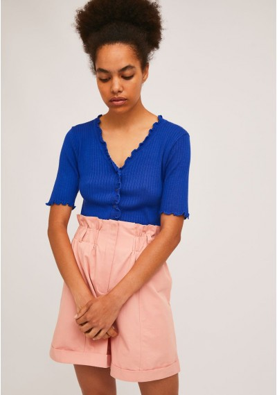 Short plain blue knitted cardigan with crimped finish -  Compañía Fantástica