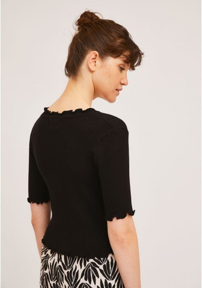 Short plain black knitted cardigan with crimped finish -  Compañía Fantástica