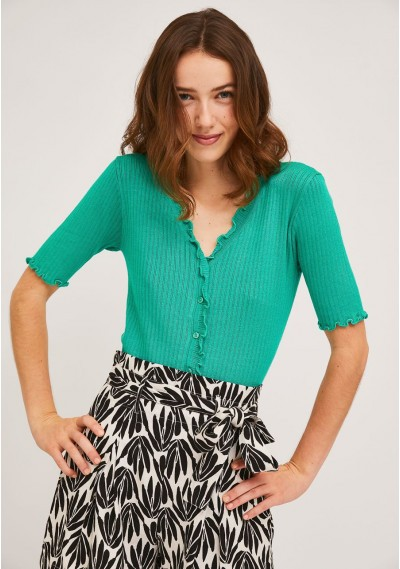 Short plain green knitted cardigan with crimped finish -  Compañía Fantástica
