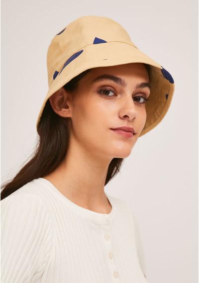 Beige bucket hat with blue...