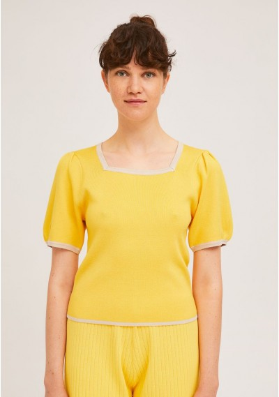 Yellow fine-knit square-neck jersey top with contrast -  Compañía Fantástica