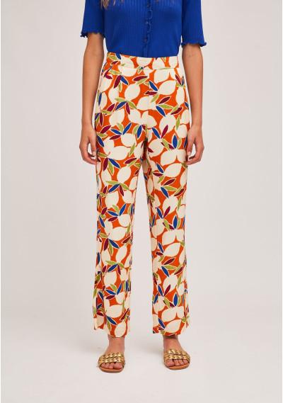 Pantalón recto naranja...