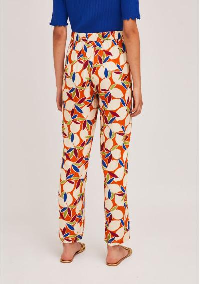 Orange fruit print straight-leg trousers -  Compañía Fantástica