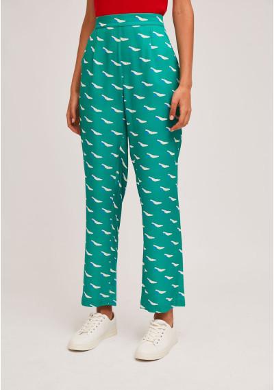 Pantalón recto verde...
