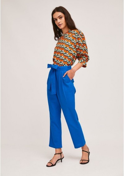 Blue pleated ankle grazer trousers with large bow -  Compañía Fantástica