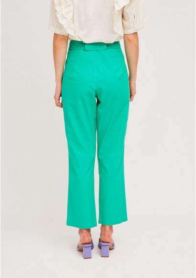 Green pleated ankle grazer trousers with large bow -  Compañía Fantástica
